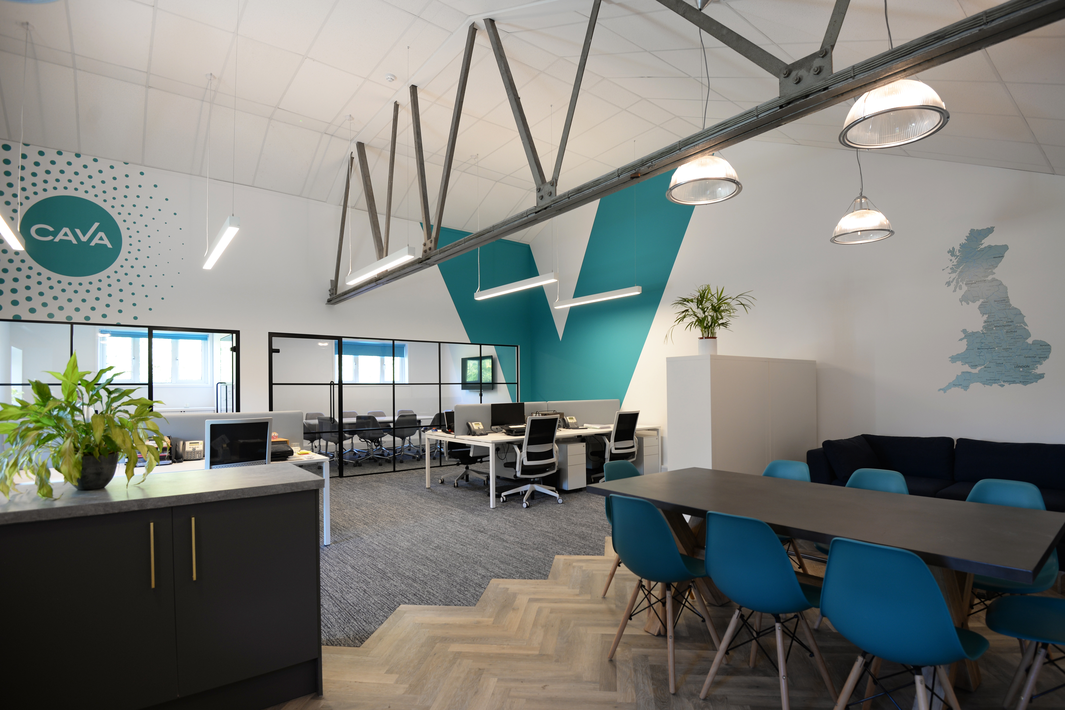 CAVA Office space, Lighting design, Office Design, Office Interior, Cambridge Office Design, Carpet Design, Bespoke Wall Graphics, Crittall Partitioning, Meeting Rooms, Desking, Task Seating, breakout space